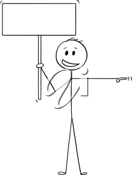 Cartoon stick drawing conceptual illustration of man or businessman with arrogant smile pointing his hand and holding empty sign ready for your text.