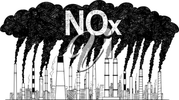 Vector artistic pen and ink drawing illustration of smoke coming from industry or factory smokestacks or chimneys into air. Environmental concept of nitrogen oxides or NOx air pollution.