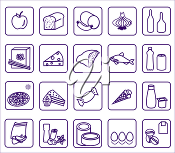 Supermarket icons. Signs for products on white background. EPS 10