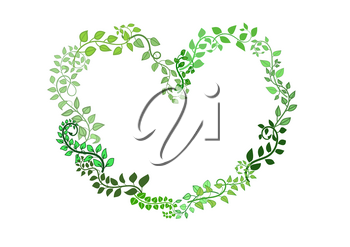 Heart shape from green woven leaves. Vector illustration. Element for your design