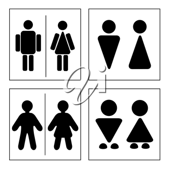 A man and a lady toilet sign. Four variants.