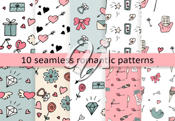 Love symbols Seamless pattern collection. Hand drawn doodles Vector illustration. Can be used for scrapbooking, fashion, cards for wedding, Valentine s day and other romantic occasion.