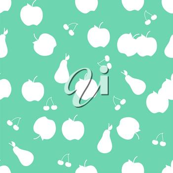 Seamless vector background with apple, pear and cherry on green background. EPS 10