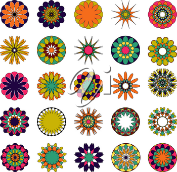 Colored mandala set. Oriental round ornament. Asian design elements.