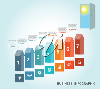 Template Conceptual infographics, arrows colored and doorway, 7 positions
