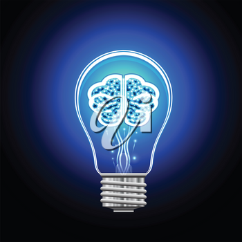 Brain with shining points in an electric bulb, concept of thinking and idea.
