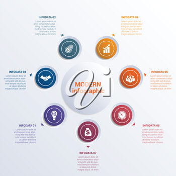 Infographic template seven option circles  banner what can be used as business presentation,chart, diagram, table, workflow layout