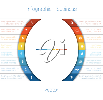 Vector Template Infographic Eight Position.  Colorful Semicircles and White Strips for Text Area. Business Area Chart Diagram Data.