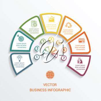 Vector semicircle infographics template seven positions for workflow, cycle processes, diagrams, business options, banner, web design.