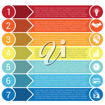 Circles, horizontal colorful arrows and strips, bars infochart, areachart presentation or templates for 7 positions infographics