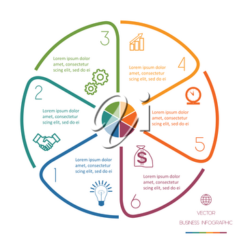 Infographic Circle template from colourful lines with text areas on six positions