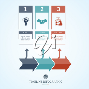 Conceptual Business Timeline Infographic, Vector design template for three positions can be used for workflow, banner, diagram, web design,  area chart