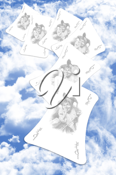 Joker Playing Card On A Cloudy Sky Background