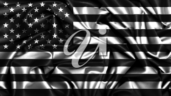 American flag grunge looking in black and white