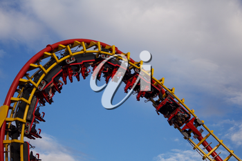 Roller Coaster Ride in Amusement Park. Entertainment and Adventure