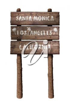 Santa Monica In Los Angeles California Wooden Board Sign Isolated On White Background
