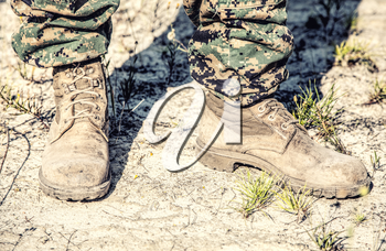 United states Marine Corps Combat boots in the desert