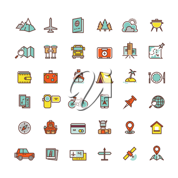 Tourism and transport flat vector icons for web and mobile app. Tourism travel vacation and transport for tourism illustration