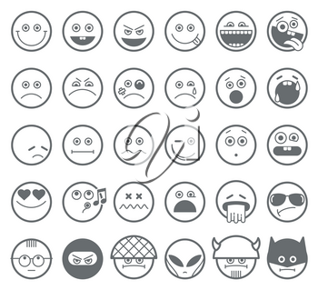 Smiley emoticon vector line icons. Smiley linear faces,  emotion smiley outline signs, smiley character set