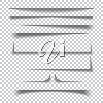 Transparent realistic paper shadow effects on checkered background. Vector illustration