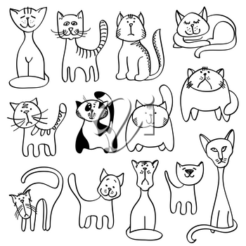 Home pets, cute cats in doodle vector style. Cat animal doodle and set of cat illustration