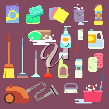 Cleaning maid equipment or cleaning service vector flat icons. Equipment for housework domestic cleaning vector illustration