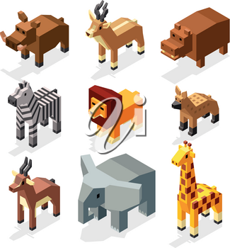 Isometric 3d african savannah animals flat vector stock. Mammal african elephant and hyena animal savannah. Creature wildlife deer animal in savannah area illustration