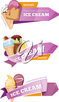 Sweet ice cream vector banners set. Ice cream in cone or on stick, banner logo for shop ice cream illustration