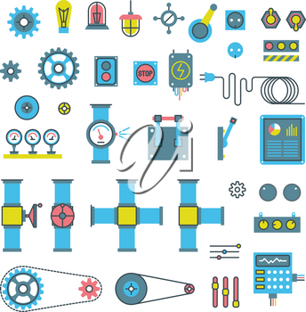 Machinery parts flat vector icons. Machinery gear for industry, wheel with cog and engineering mechanical gear equipment illustration