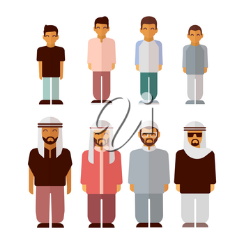 Flat arabic boys and men isolated on white background. Arabic people characters, vector illustration