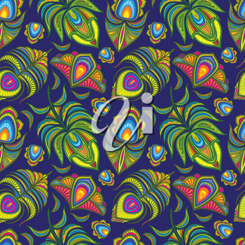 Peacock feather vector seamless pattern. Illustration backgorund with colored plumage fluffy
