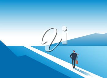 New way concept. Beginning journey adventures and opportunities. Businessman on road outdoor. Business vector background. Businessman and new opportunity, future success illustration