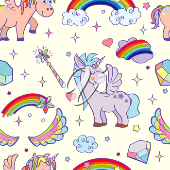 Vector hand drawn unicorns and magic seamless pattern. Illustration of design background with pony