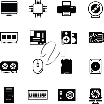 Computer hardware, hdd memory, ram, microchip, cpu vector icons. Component hardware computer, device microchip and hdd memory disk for computer illustration