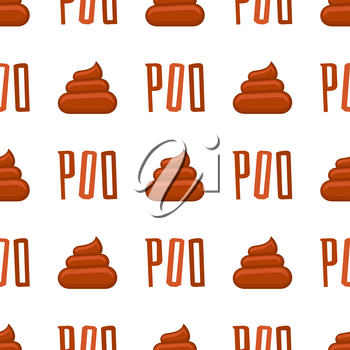 Poo seamless pattern. Background with poop and pile shit, vector illustration