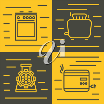 Household appliances icons in line style on yellow and brown background. Vector illustration