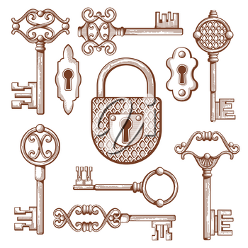 Vintage keys, locks and padlocks hand drawn. Keyhole and secrecy, various classic elements, vector illustration