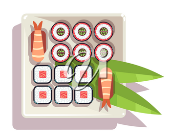 Japanese sushi over a plate vector illustration. Delicious traditional food with chopsticks