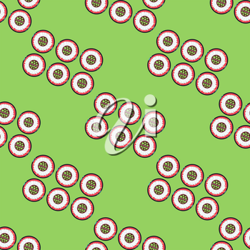 Sushi sets vector seamless pattern green. Background with oriental seafood illustration