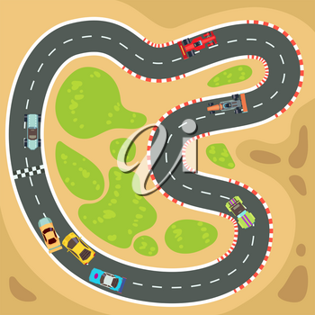 Racing computer and app game vector background with top view sport cars and race track. Interface for sport game for smartphone illustration