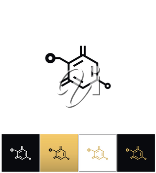 Chemical formula structure vector icon. Chemical formula structure pictograph on black, white and gold background