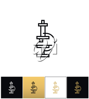 Microscope with enlarge lens vector icon. Microscope with enlarge lens pictograph on black, white and gold background