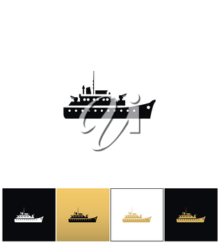 Navy military warship silhouette vector icon. Navy military warship silhouette pictograph on black, white and gold background