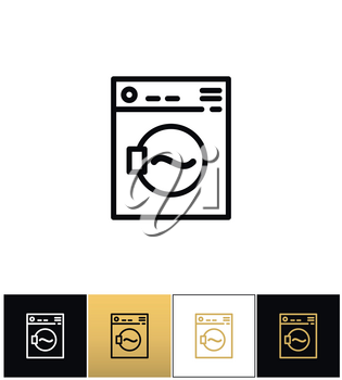 Washing machine sign or laundry rotating washer vector icons on black, white and gold backgrounds