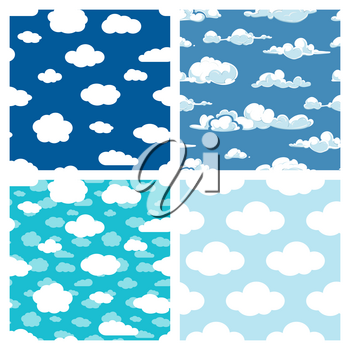 Blue sky and white clouds seamless pattern. Set of background weather. Vector illustration