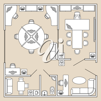 Office interior, top view architecture plan vector illustration. Office cabinet with furniture table and chair, ilustration of plan office with toilet and kitchen