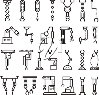 Manufacturing industrial robot, robotic arms vector line icons. Robotic industry manufacturing, illustration of technology robotic