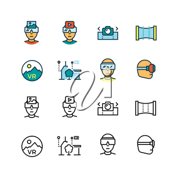 Virtual reality, virtual computer, visual communication innovation future technologies thin line icons vector set. Ilustration of virtual reality device, glasses game video