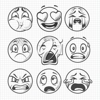 Hand drawn dissatisfied sad faces, smiles vector set isolated on white background illustration
