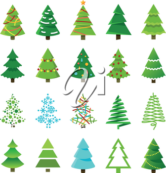Cartoon abstract christmas trees with gifts and balls vector set. Green christmas tree collection, cartoon holiday tree for celebration xmas and new year illustration
